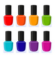multicolor cartoon nail polish collection vector image vector image
