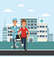 patient on wheelchair outside hospital vector image vector image