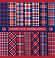 patriotic tartan set white blue red seamless vector image vector image