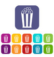 popcorn in striped bucket icons set vector image vector image