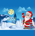 santa claus near small village 2 vector image vector image