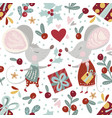 seamless pattern with cute cartoon mouse vector image vector image
