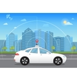 Self-driving intelligent driverless car goes vector image vector image