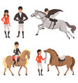 set of jockeys and horses in different actions vector image