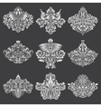 Set of ornamental elements for design White floral vector image vector image