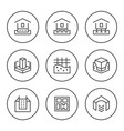 set round line icons of house foundation vector image vector image