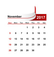simple calendar 2017 year november month vector image vector image