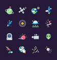 space flat icons telescope satellite spaceship vector image