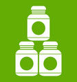 sport nutrition containers icon green vector image vector image
