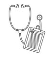 stethoscope medical icon outline style vector image