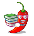 student with book red chili pepper isolated on vector image vector image
