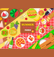 summer friends picnic poster with delicious food vector image