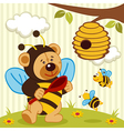 teddy bear dressed as a bee vector image vector image