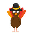 thanksgiving turkey with hat character icon vector image vector image