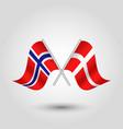 two crossed norwegian and danish flags vector image vector image