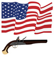 Usa flag and musket vector image vector image