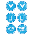 Wifi internet zone blue vintage labels set vector image vector image