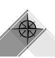 wind rose sign black icon with two flat vector image vector image