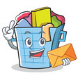 with envelope laundry basket character cartoon vector image