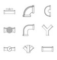 sewer pipes icon set outline style vector image