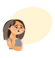 woman feeling fatigue cartoon vector image