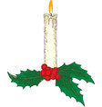 christmas candle with mistletoe vector image