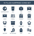 16 surprise icons vector image vector image