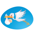 baby delivery stork vector image vector image