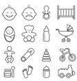 baby infant newborn and birth line icons vector image vector image