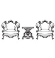 baroque furniture armchairs and table royal style vector image vector image