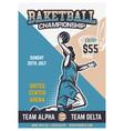 basketball championship tournament vintage poster vector image