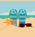 beach landscape with flip flops scene vector image