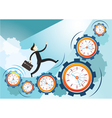 Businessman Run on Gears and Clocks vector image