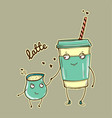 cartoon characters latte with cream vector image vector image