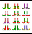 cartoon elves legs icons set feet stoking vector image