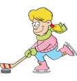 Cartoon girl playing hockey vector image vector image