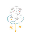 cartoon sheep sitting on the cloud cartoon sheep vector image