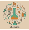 Chemistry Line Art Thin Icons Set with DNA vector image vector image