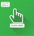 click here icon business concept hand cursor vector image
