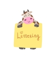 Cow With The Template For The Message vector image vector image