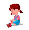 crying character little girl bump knee vector image