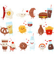 cute funny food and drinks cartoon characters set vector image vector image