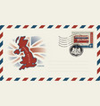 envelope with map and flag of great britain vector image vector image