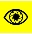 eye on a yellow background vector image vector image