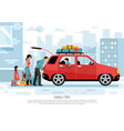 family travel car poster vector image vector image