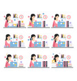 female office worker daily work scenes vector image vector image