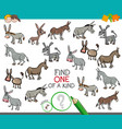 find one of a kind with donkeys animal characters vector image vector image