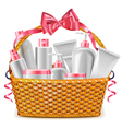 Gift Basket with Cosmetics vector image vector image