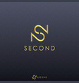 gold letter s and double number 2 logo concept vector image vector image