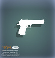 gun icon symbol on the blue-green abstract vector image